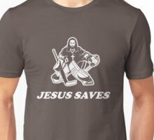 Jesus Saves Hockey Goalie Unisex T-Shirt