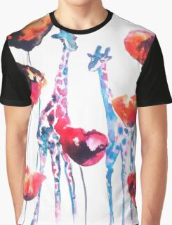 Giraffes in the Poppies Graphic T-Shirt