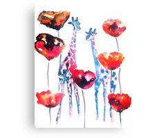 Giraffes in the Poppies Canvas Print
