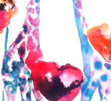 Giraffes in the Poppies Sticker