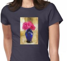 Pink Carnations In Cobalt Blue Vase Womens Fitted T-Shirt