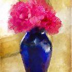 Pink Carnations In Cobalt Blue Vase by Lois  Bryan