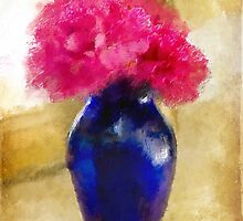 Pink Carnations In Cobalt Blue Vase by Lois  Bryan