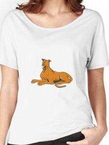 Mastiff Dog Mongrel Barking Sitting Cartoon Women's Relaxed Fit T-Shirt