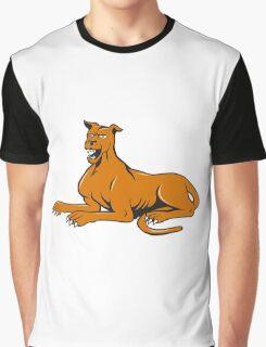 Mastiff Dog Mongrel Barking Sitting Cartoon Graphic T-Shirt