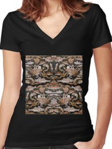 POMPEII COLLECTION / NAUTICAL ,OCEAN - SEA LIFE SCENE Women's Fitted V-Neck T-Shirt