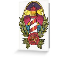 Traditional Tattoo Lighthouse Design.  Greeting Card