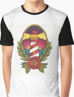 Traditional Tattoo Lighthouse Design.  Graphic T-Shirt