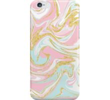 Pink Blue and Gold Ink Marble iPhone Case/Skin