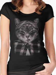 Gangster Cat (Platinum) Women's Fitted Scoop T-Shirt