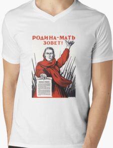 Soviet Poster: Родина-мать зовет! Mens V-Neck T-Shirt