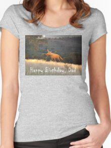 Fox in the Moonlight, Happy Birthday Dad.Humor Women's Fitted Scoop T-Shirt