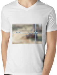 Wire Fence Mens V-Neck T-Shirt