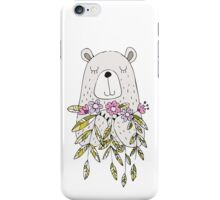 Cartoon Animals Cute Bear With Flowers iPhone Case/Skin