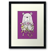 Cartoon Animals Cute Bear With Flowers Framed Print