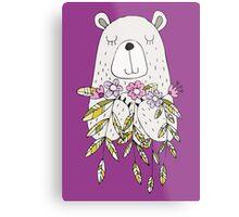 Cartoon Animals Cute Bear With Flowers Metal Print