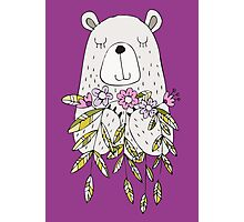 Cartoon Animals Cute Bear With Flowers Photographic Print