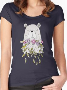 Cartoon Animals Cute Bear With Flowers Women's Fitted Scoop T-Shirt