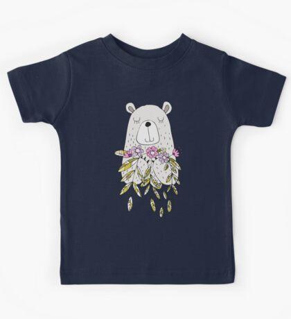 Cartoon Animals Cute Bear With Flowers Kids Tee