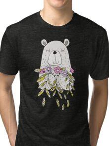 Cartoon Animals Cute Bear With Flowers Tri-blend T-Shirt