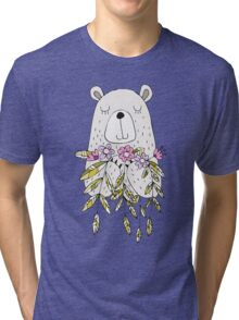 Cartoon Animals Cute Bear With Flowers Tri-blend T-Shirt