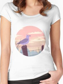 Bird on fence post Women's Fitted Scoop T-Shirt