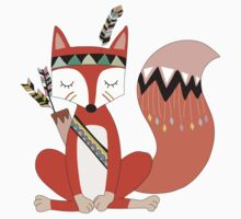 Cartoon Tribal Fox With Arrows and Feathers Baby Tee