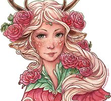 Faun Girl with Pink Flowers by meredithdillman