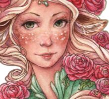 Faun Girl with Pink Flowers Sticker