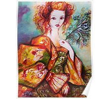 ROMANTIC WOMAN WITH SPARKLING PEACOCK FEATHER Poster