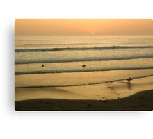 Californian Gold - Sunset, Beach, Waves and Surfers - Oh So California Canvas Print