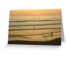 Californian Gold - Sunset, Beach, Waves and Surfers - Oh So California Greeting Card