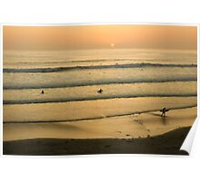 Californian Gold - Sunset, Beach, Waves and Surfers - Oh So California Poster