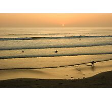 Californian Gold - Sunset, Beach, Waves and Surfers - Oh So California Photographic Print