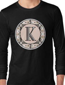 1920s Pink Champagne Deco Monogram letter K Long Sleeve T-Shirt