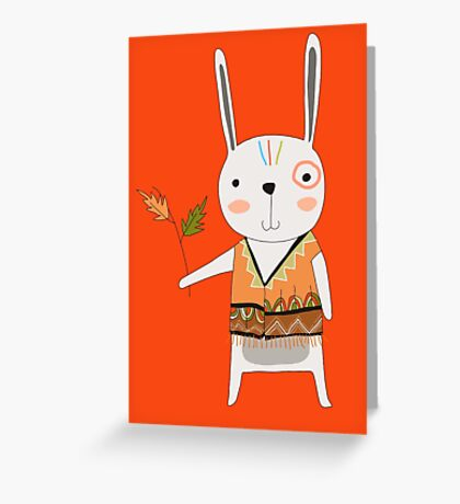 Cartoon Animals Tribal Bunny Rabbit Greeting Card