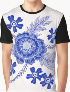 Blue Peony Graphic T-Shirt