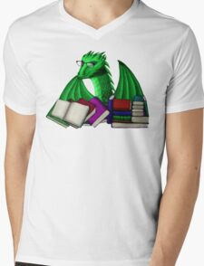 Green Dragon with Book Hoard Mens V-Neck T-Shirt