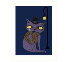 Sad Cat with Moonlight Memories Art Print