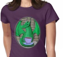 Book Hoarding Green Dragon with Tea Womens Fitted T-Shirt