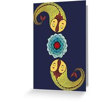 Curious Fish with Water Lily Greeting Card