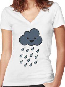 Happy Rain Cloud 3 Women's Fitted V-Neck T-Shirt