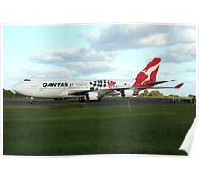 Qantas 747 on Easter Island runway Poster