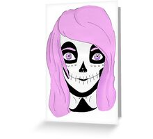 pink pastel skull girl Greeting Card