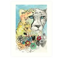 Cheetah Flowers Art Print