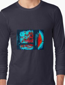 ABSTRACT BLUES AND RED Long Sleeve T-Shirt