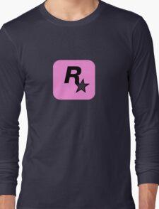 Rockstar Logo Pink Long Sleeve T-Shirt