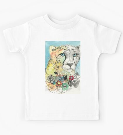 Cheetah Flowers Kids Tee