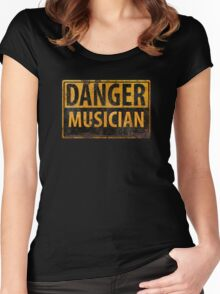 """""""DANGER, MUSICIAN"""" Rusty Metal Sign - Distressed - Black Yellow Women's Fitted Scoop T-Shirt"""