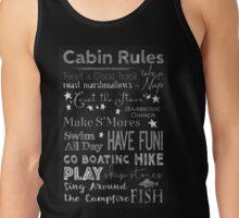 Cabin Rules Lodge Fun Chalkboard Typography Art Tank Top